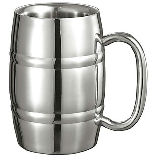 Visol Big Cooper Double Walled Stainless Steel 13-Ounce Mug, Silver