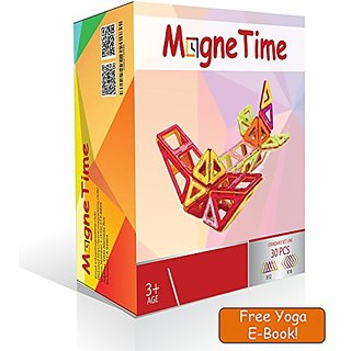 MagneTime Club Explore&Develop With Magnetic Blocks Building(Rainbow Colors 30pcs Set)Starter Kit.Inspiring Preschool Ed
