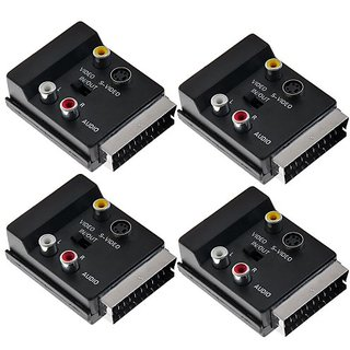 Kmise A7100 4 Set 20 Pin Scart Plug to Scart Jack, 3 RCA Jacks and 1 Mini 4 Pin Jack