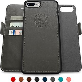 Dreem Fibonacci iP7+V1 RFID Wallet Case with Detachable Folio, Premium Vegan Leather, 2 Kickstands, Gift Box, for iPhone