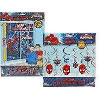 Maven Gifts: Marvel Ultimate Superman Birthday Party Bundle - 12-Count Spiderman Dangling Decorations Set With 5-Piece S