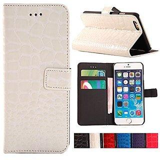 iPhone 6 Case, YESOO Crocodile Pattern PU Leather Wallet Folio Case (White)