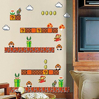 Home Evolution Giant Super Mario Build a Scene Peel and Stick Wall Stickers Stickers for Kids Boys Nursery Wall Art Room D