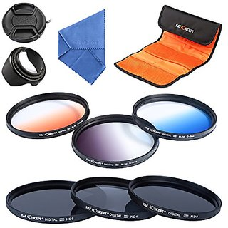 K&F Concept 55mm 6pcs Lens Filter Kit Neutral Density Filter for Sony A37 A55 A57 A65 A77 A100 DSLR Cameras - Includes F