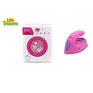 Miniature Washing Machine & Iron 2-in-1 Playset Pretend Play Toy Set for Girls Collection