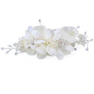 FUMUD Bridal Hair Flower Side Comb Barrette Headpiece Wedding Accessory