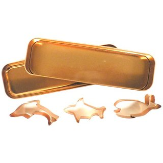 Global Decor Ocean Cookie Cutter Set in Round Copper-Plated Container