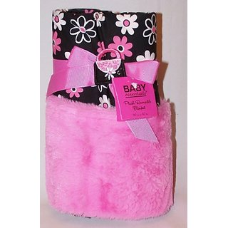 A.D. Sutton Baby Essentials Plush Reversible Blanket Gift Set - Black Pink Diva