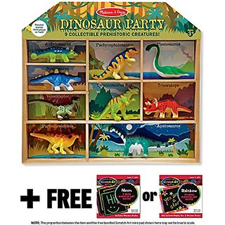 Dinosaur Party 9-Piece Mini-Figure Play Set + FREE Melissa & Doug Scratch Art Mini-Pad Bundle [26666]