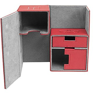 Twin FlipnTray Deck Case 160+ Standard Size XenoSkin Red Card Game