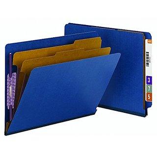 Smead End Tab Pressboard Classification File Folder - Letter Size - 10 Per Box - Dark Blue