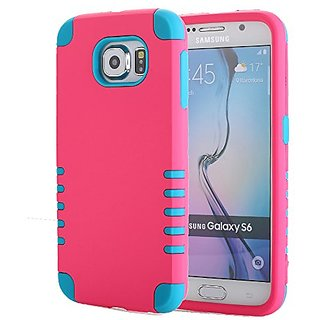 Galaxy S6 Case, Pandawell 3-piece 3 in 1 Combo Hybrid Defender High Impact Body Armor Hard PC & Silicone Rubber Case Pro