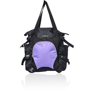 Obersee Innsbruck Diaper Tote with Detachable Cooler - Black / Purple
