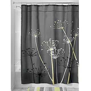 InterDesign Thistle Fabric Shower Curtain, 54 x 78-Inch, Gray/Yellow
