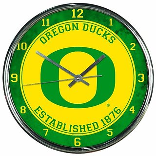NCAA Oregon Ducks Chrome Clock, 12