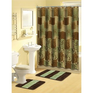 Home Dynamix Lux01-500 Luxury Polyester 15-Piece Bath Set - Brown