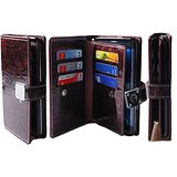 LG G4 Case, [Shine Wine] [Dual Wallet] [6 Card Slot,3 Bill Slot] i PU Leather TPU Bumper Clutch Case [Drop Protection] F