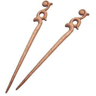 Crystalmood Handmade Peachwood Carved Hair Stick Chinese Ruyi [2-PC Gift Box Set]