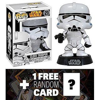 Clone Trooper: Funko Pop! X Star Wars Vinyl Bobble-Head Figure W/ Stand + 1 Free Official Star Wars Trading Card Bundle