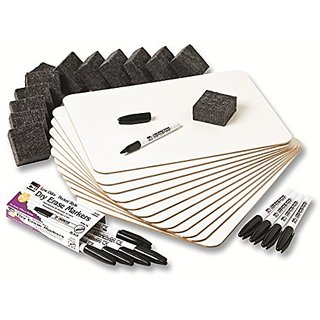 Charles Leonard Dry Erase Lapboard Class Pack, Includes 12 each of Whiteboards, 2 Inch Felt Erasers and Black Dry Erase