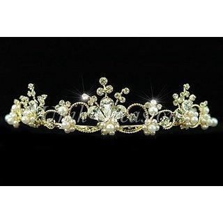 Unik Occasions Gold Pearl Flower Rhinestone Bridal Tiara