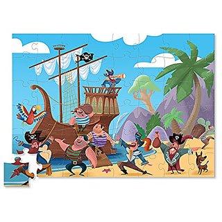 Crocodile Creek Pirates Treasure Double Fun Jigsaw Puzzle in Treasure Trunk Shaped Box (48 Piece)