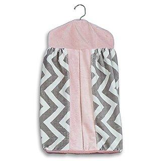 Baby Doll Bedding Minky Chevron Diaper Stacker, Pink