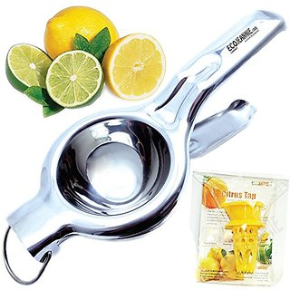 EcoJeannie LS0001 Professional Jumbo Stainless Steel Lemon and Lime Squeezer and Juicer with Free Citrus Tap, 9.25-Inch,