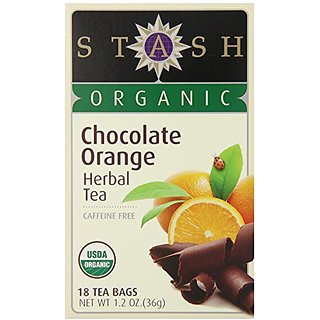 Stash Tea Organic Chocolate Orange Herbal Tea, 18 Count Tea Bags in Foil (Pack of 6)