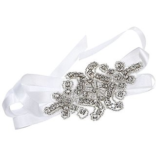 Romantic Handmade Crystals Beads with White Satin Ribbon Tie Wedding Bridal Fashion Headband Hair Accessory
