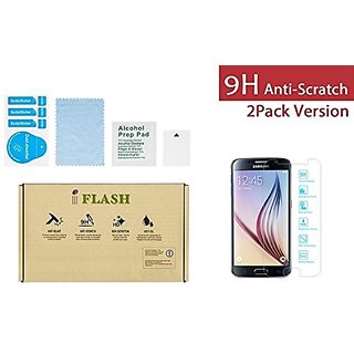 iFlash 2 Pack of Premium Tempered Glass Screen Protector For Samsung Galaxy S6 / SVI (NOT S6 Edge)- Protect Your Screen