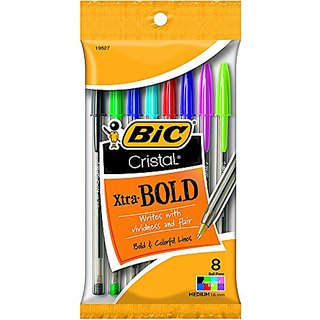 Bic Usa Inc BICMSBAP81 19627 Bic Cristal Xtra Bold Pack Of 8