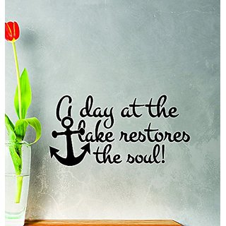 Design with Vinyl Zzz 1041 2 Decor Item A Day At The Lake Restores The Soul Fishing Hobby Quote Wall Sticker Sticker, 16-I