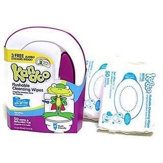 Pampers Kandoo Sensitive Flushable Wipes Just Getting Started Bundle with 50 Ct Tub and 2 Refill Packs
