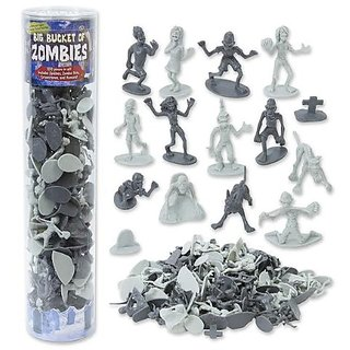 Zombie Action Figures - Big Bucket of 100 Zombies - Perfect for Halloween Decorations and Teal Pumpkin Trick or Treating