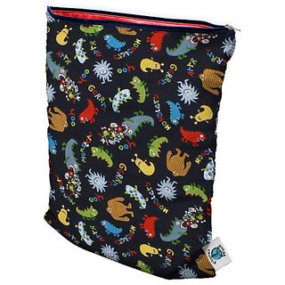 Planet Wise Wet Diaper Bag, Monster Mash, Medium