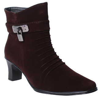 MSC-ANKLE LENGTH-SUEDE-BROWN BOOTS (MSC-RR71-413-SUEDE-BROWN BOOTS)