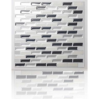 Tic Tac Tiles- High Quality Anti-Mold Peel And Stick Wall Tile In Brick Metal Grey (10)