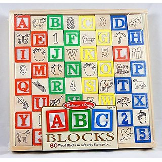 Melissa and Doug ABC Blocks - 60 Wood Blocks Sturdy Storage Box - Ages 2+
