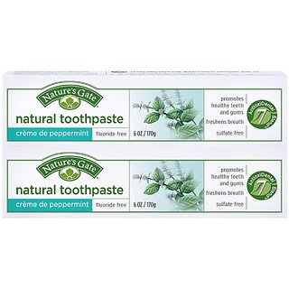 Natures Gate Fluoride-Free Natural Creme toothpaste, Creme de Peppermint - 6 oz - 2 pk