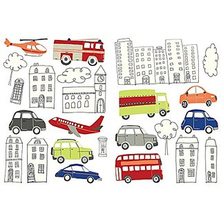 Fine Decor FDS1201 Kids Wall Stickers and Stickers, Picture Book City