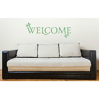 Welcome Quote with Leaves Large Wall Sticker for Entryway Dcor 34x11.5 Celadon