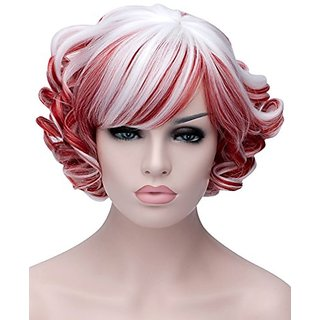 Sotica Cosplay Wig Cos Lolity Short Curly Wave Hair Red And Blonde