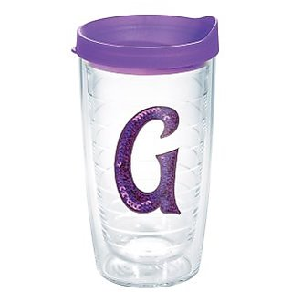 Tervis Tumbler With Purple Lid And Letter-G In Purple Sequins - 16 Ounce