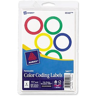 Avery Assorted Removable Color Coding Labels - 1.25 Inch Round - 400