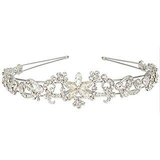 Ever Faith Wedding Silver-Tone Daisy Flower Teardrop Austrian Crystal Hair Headband