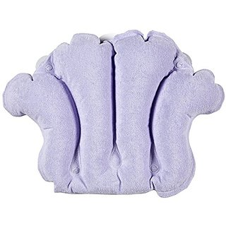 Terry Bath Pillow - Best Inflatable Neck Support Absorbent and Fast Drying Pillows for Your Bathtubs - Purple