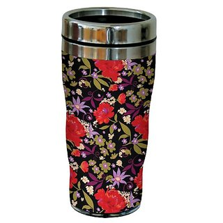 16-Ounce Tree-Free Greetings sg23720 Black Floral Pattern by Nel Whatmore Travel Tumbler
