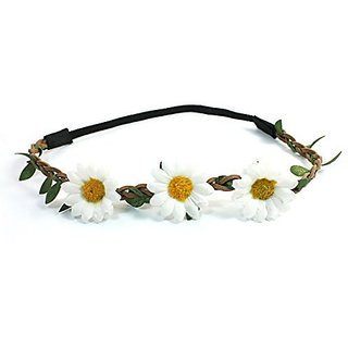 FOREVER YUNG Lady Fashion Woven Strap White Sunflowers Decor Stretch Hair Head Band