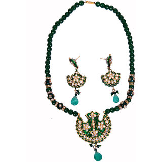 Cardial American Silver Plated Green Glass Necklace Sets For Women's